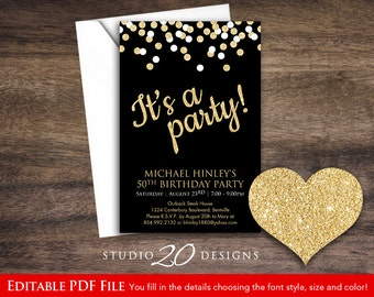 Instant Download 4x6 Black Gold Glitter Party Invitations Editable Pdf, 4x6 Black Gold Glitter It's a Party Invitations AUTOFILL enabled 23E