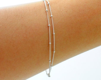 Delicate Silver Bracelet, Sterling Silver OR Goldfilled,  Two chains, Thin and feminine, Minimum Jewelry, Silver Dot Chain, everyday jewelry
