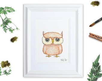 Coral Watercolor Owl Art, Owl Lover Gift, Bird Art Print, Owl Nursery Wall Art, Coral and Blue,  Whimsical Decor, Quirky Bird, Owl Decor
