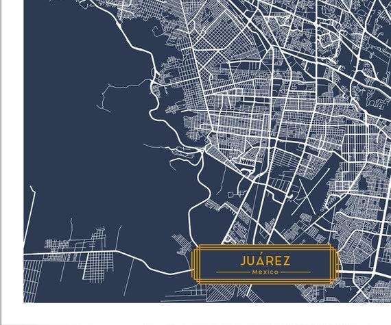 Jurez Mexico CANVAS Large Art City Map Jurez Mexico Art