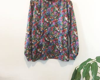 80's Flared Floral Blouse