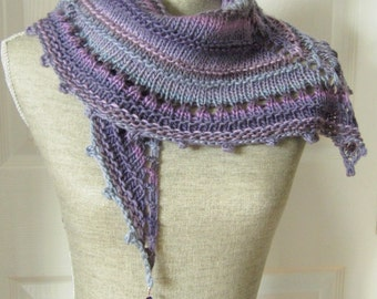SALE - Handknit Women Triangle Scarf Shawl Style Neckwrap with Bead Dangles - Lavender