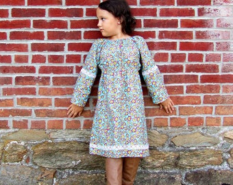 Girls peasant dress - girls dresses - boho dress - boho dress baby - blue dress - bohemian dress - boho flower girl dress - tunic dress