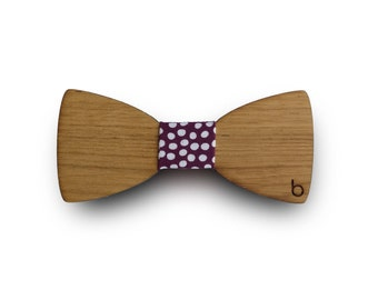 Wooden bow tie with Burbujas fabric