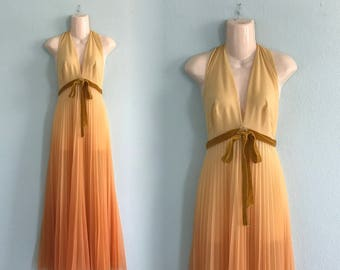 60s Vanity Fair Nightgown -  Vintage Ombre Gold Nightgown Velvet Trim - Glam 60s Saffron Halter Nightgown - Vintage 1960s Nightgown XS S