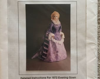 """Doll Dress Sewing Patterns #RP2702: 1872 Evening Gown for 31"""" Doll"""