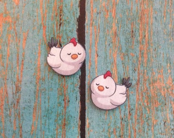 Handcrafted Plastic White Hen Brooding Whimsical Earrings Gifts for Her, Girls, Children Chicken, Poultry