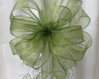Green Tree Topper Bow - Christmas Tree Topper Bow - Tree Topper Bow - Christmas Bow -  Gift Bows - Gift Topper Bow - Bow **FREE SHIPPING**
