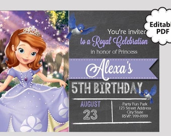 EDITABLE TEXT Sofia the First Birthday Invitation - Sofia the First Party Invites - Sofia the First  Invite - Instant Download