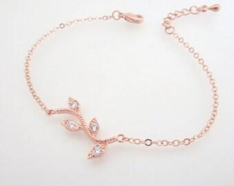 Rose Gold Leaf Bangle Bracelet, Crystal Bangle bracelet, Rose Gold Bridal bracelet, Bridesmaid bracelet, Friendship bracelet, Bridal party