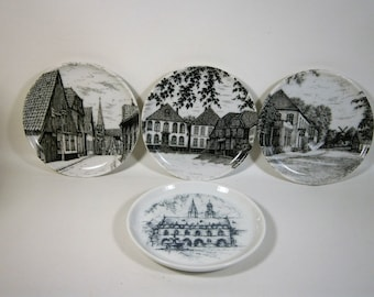 Four Vintage Porcelain Coasters from Germany, 3 Scenes from Melforf, 1 Church Scene, Souvenier Coasters, Pin Trays