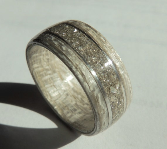 Bentwood Ring Gray Koto With Silver German Glass And Silver