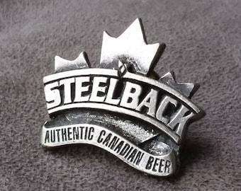Steelback Pin, Authentic Canadian Beer Pin, Canadian Beer Lovers Gift, Vintage Beer Badge