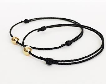 Black Cord Bracelet Coworker Gift Black String Bracelet waterproof bracelet adjustable bracelet couples bracelet set matching bracelet