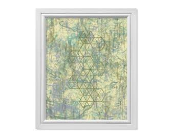 Hexagon Art, Geometric Art, Minimal Wall Art, Abstract Geometric Print, Hexagon Print, Blue Green Printable, Digital Hexagon Download