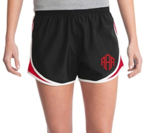 Black & Red Monogrammed Shorts, Personalized Running Shorts, Work Out Shorts, Gym Shorts, Monogrammed Running Shorts, Personalized Shorts