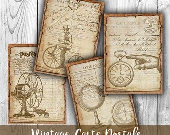 Steampunk Carte Postale Digital Collage Sheet Download - Digital Paper - Instant Download Printables