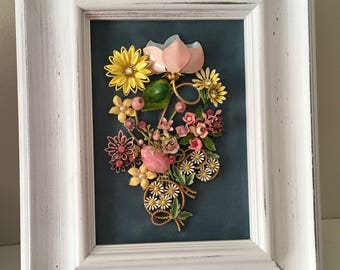Vintage Jewelry Floral Art Collage Picture —Pink and Yellow