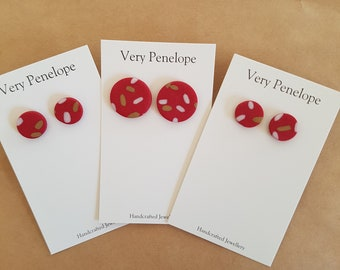 Polymer Clay Stud Earrings/red with sprinkles