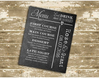 Do It Yourself, Print Your Own Wedding Menu with Chalkboard Look! Pick one of 5 colours!