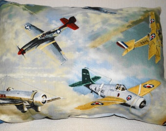 Antique Airplane Air Travel/Daycare Pillow - 15X11 - fighter jets
