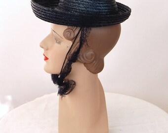 1940s hat straw hat navy blue tilt hat Valerie Mode New York Creation Breton hat summer hat