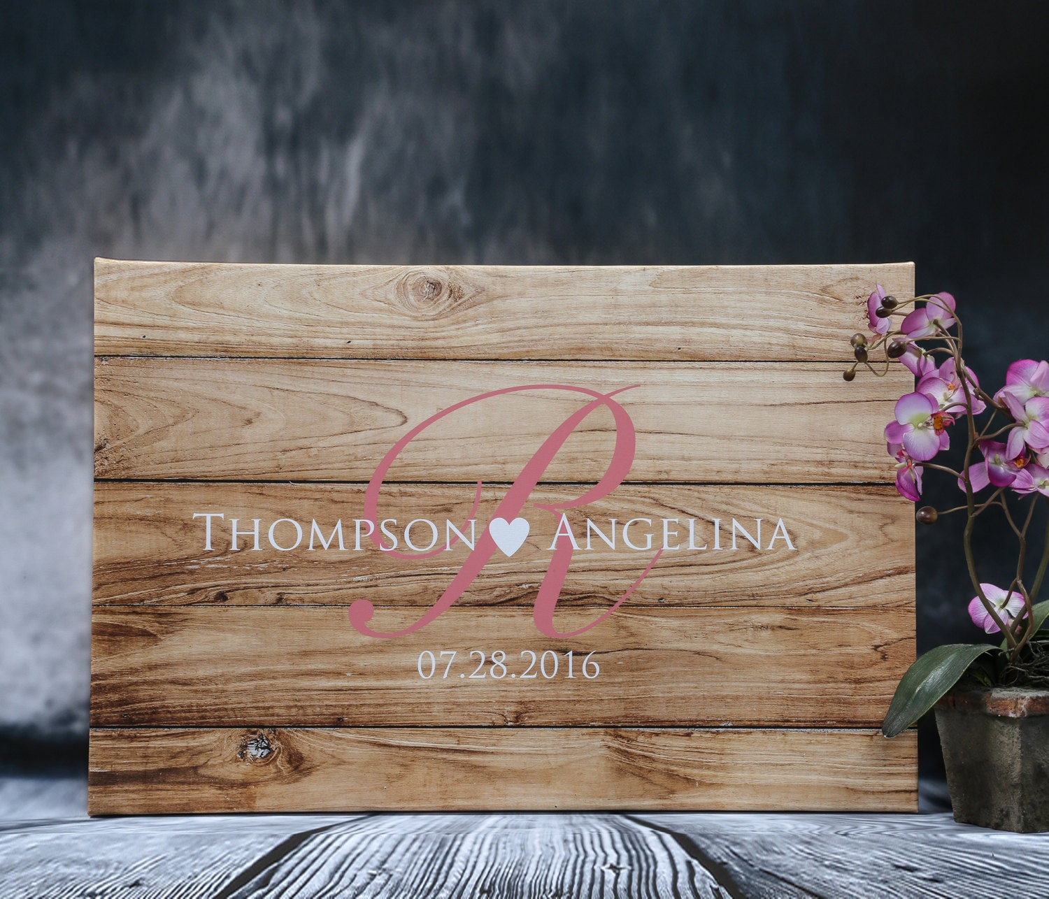 Rustic Wedding Guest Book Alternative Custom Guestbook Wood Canvas