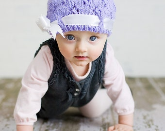 Eyelet Beanies with Satin Bow - Made to Order - You Choose Colors