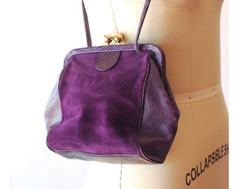 vintage purple suede purse