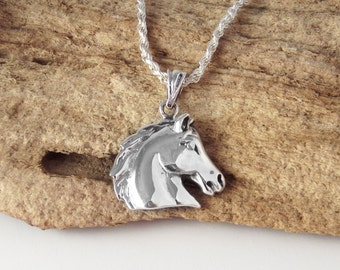 Equestrian Jewelry - Horse Necklace - 925 Sterling Silver Jewelry - Horse Head Pendant - Women's or Men's Necklace