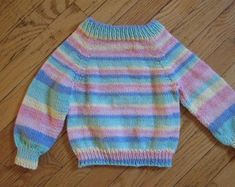 Hand Knit striped baby sweater size 1 - 2T