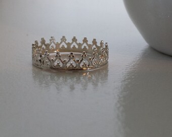 Crown Ring Sterling Silver - Princess / Queen / Royalty Filigree Stack Ring- Style 2 - 925
