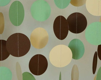 Green, Ivory & Brown Baby Garland, Gender Neutral Baby Shower Decorations, Pastel Green Circle Garland, 10 ft. long