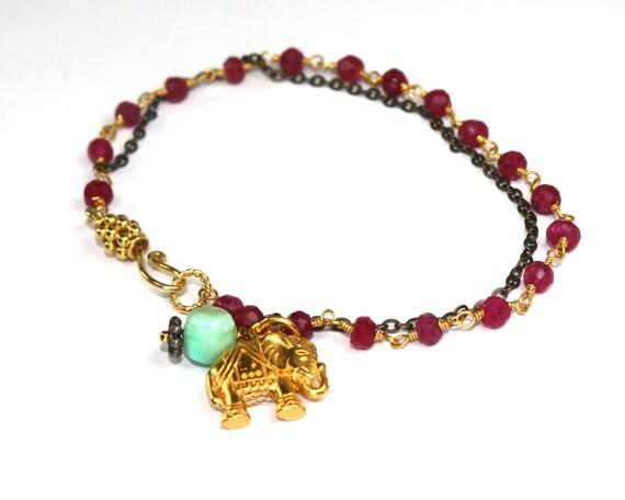 Indian Summer Collection. Elephant Bracelet. Ruby Rosary Layering Bracelet. Elephant and Peruvian Blue Opal Pendant. ex.  Spirit.