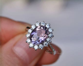 Pink Amethyst Ring Amethyst Engagement Ring/ Wedding Ring 925 Sterling Silver Ring Anniversary Ring Promise Ring