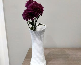 Westmoreland glass milk glass diamond pattern vase, large westmoreland diamond vase, large milk glas vase