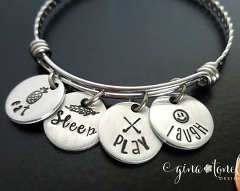 Field Hockey Bracelet, Field Hockey Jewelry, Field Hockey Gifts, Sports Banquet Gift, Sports Gift, Eat Sleep Field Hockey Charm Bracelet