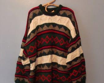 Vintage Oversized Sweater Chunky Knit Wool 90's Reywear Ecuador Warm Cozy 1990's Holiday Fall Winter Rustic Ski Sweater Long Boxy Christmas