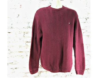 burgundy sweater, casual sweater, crew neck jumper, cotton sweater -  X large /T sweater, # 15