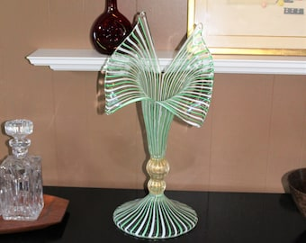 "La Murrina Art Glass Vase Large 22.5"" Vintage Striped Ribbons Murano"