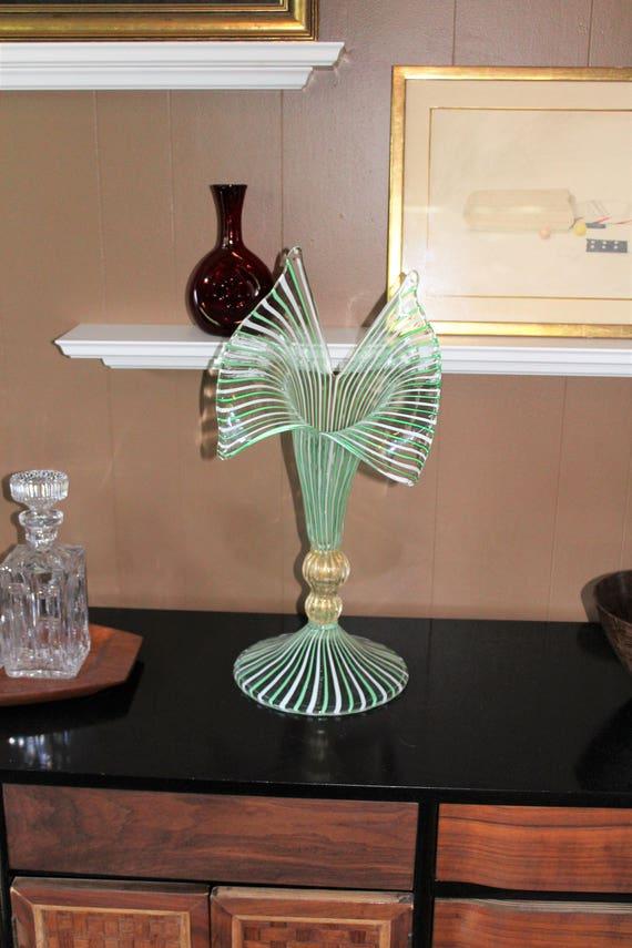 """La Murrina Art Glass Vase Large 22.5"""" Vintage Striped Ribbons Murano"""