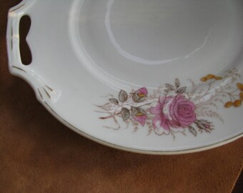 Serving Plate with Handles  Roses Shabby Chic Vintage SALE