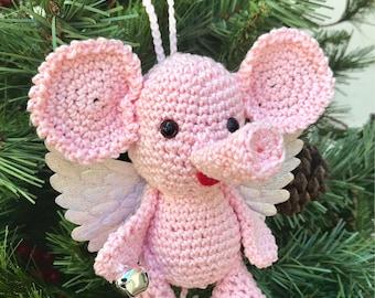 Crochet amigurumi pink elephant angel miniature elephant angel plushes Christmas angel children toy decoration angel ornament holiday decor