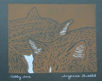 """Sleeping cats hand-colored block print - """"Tabby love"""" tabby cat hand-pulled print"""