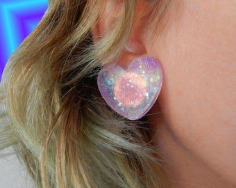 Glitter heart ear clip