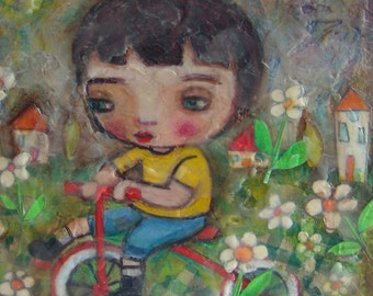 Mixed Media Painting, Original Art Work, Tricycle Boy, Gift For Him, Children's Bedroom