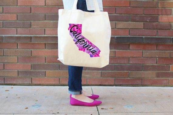 California Tote Bag, Reusable Shopper Bag, Farmers Market Bag, Cotton Tote, Shopping Bag, Eco Tote Bag, Reusable Grocery Bag, Printed in USA