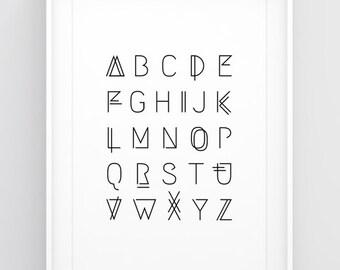 Alphabet printable — Alphabet poster, ABC poster, Alphabet wall art, Letters wall art, Large poster, Alphabet print, Alphabet letters print