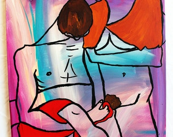 Darling One 16x20 acrylic figurative painting on abstract background inspired by egon schiele
