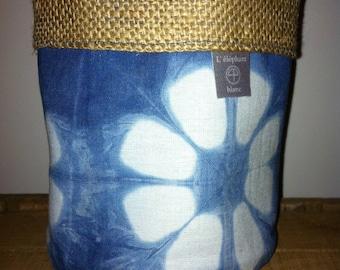 Storage pot fabric Indigo color 13 x 13 cm flower pattern